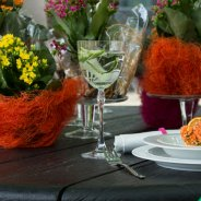 Colourful table decoration close-up  - outside