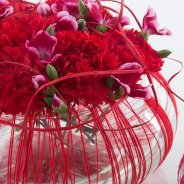 Valentine's Day arrangement with Dianthus close up