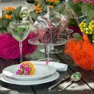 Colourful table decoration - outside