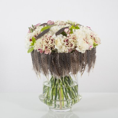 Feathered spring bouquet with Dianthus