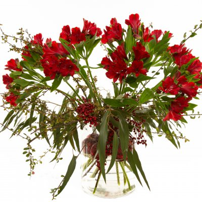 Red Christmas bouquet with Alstroemeria