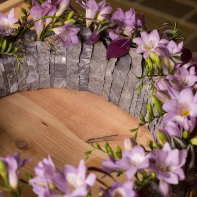 Funeral wreath with Freesia