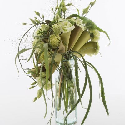 Fresh green bouquet with Dianthus