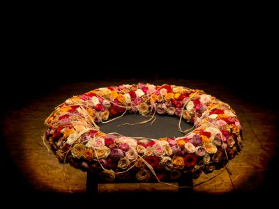 Memorial wreath with spray roses