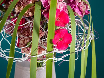 Frame bouquet with pink carnations