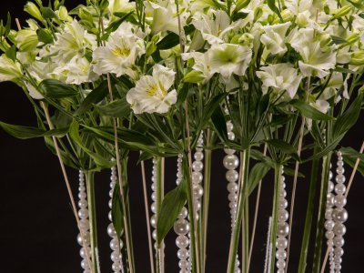 White Alstroemeria and pearls