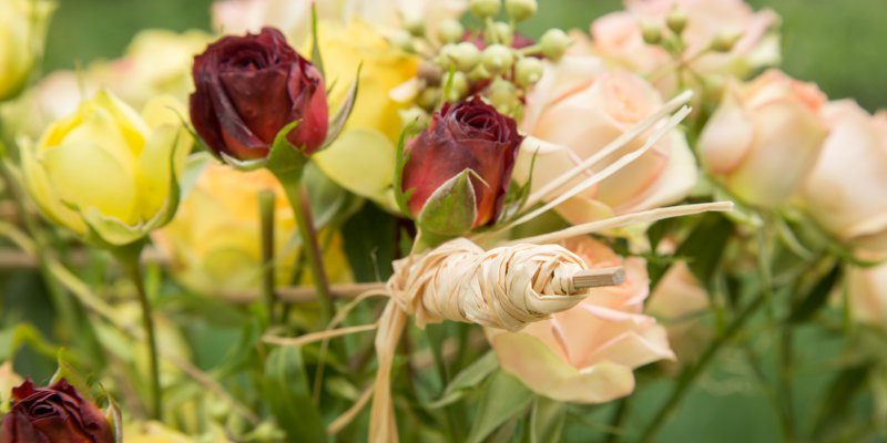 An autumnal spray rose arrangement
