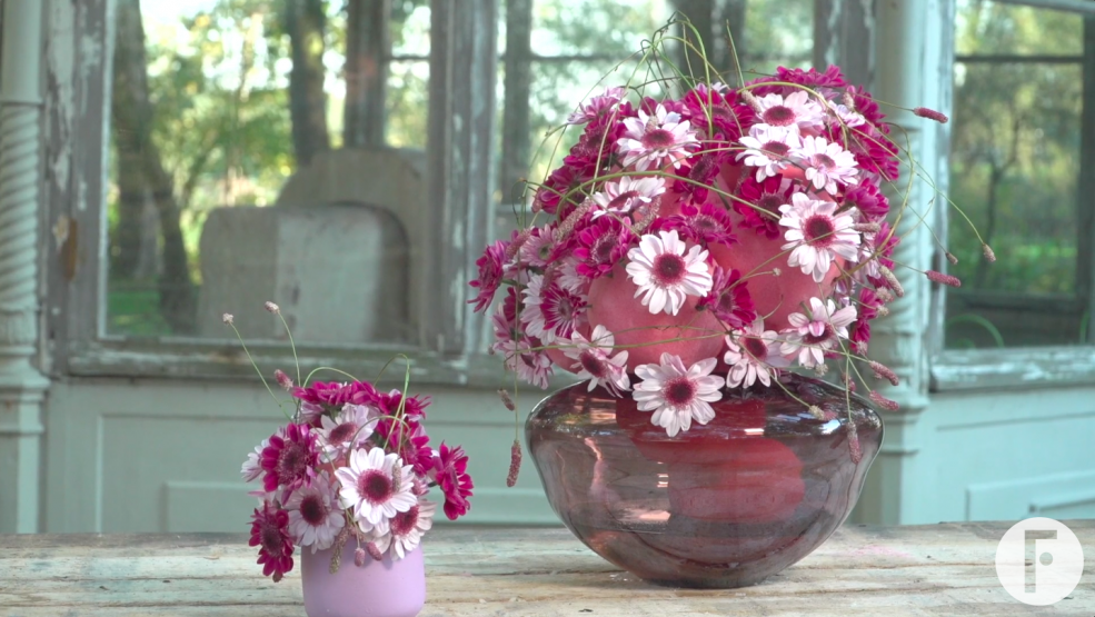 Pink mums Stresa and Stresa Purple in a design by Kristel van Dijk - photo Flower Factor