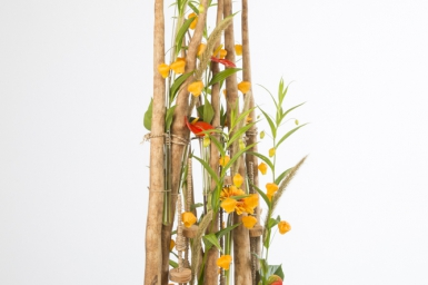 Flower arrangement with wooden frame by David Ragg