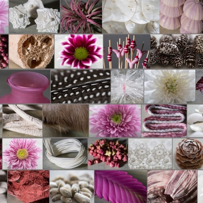 Winter mood board with Chrysanthemums