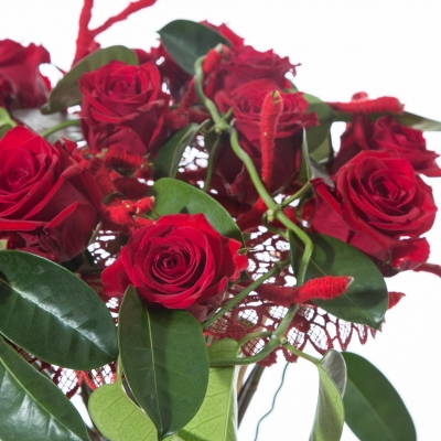 Romantic Valentine's Day bouquet with red roses