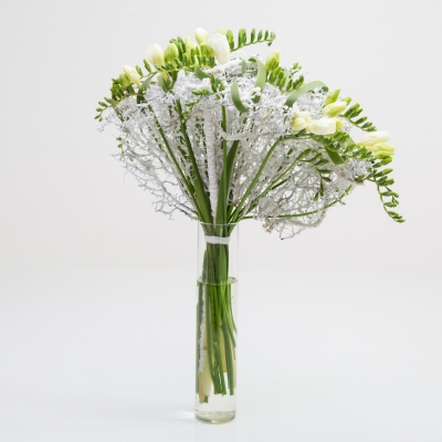 Delicate fan bouquet with white Freesia