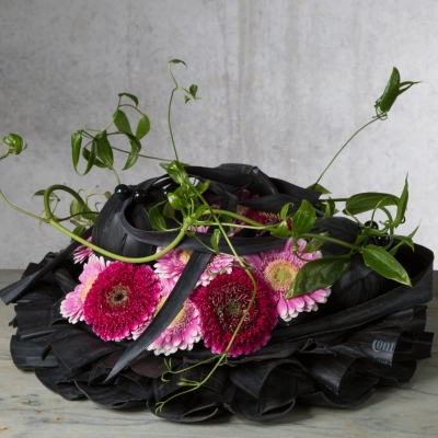 Black funeral flower arrangement