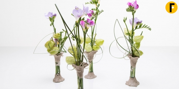 clay vases with purple freesias - Vase Design Ideas