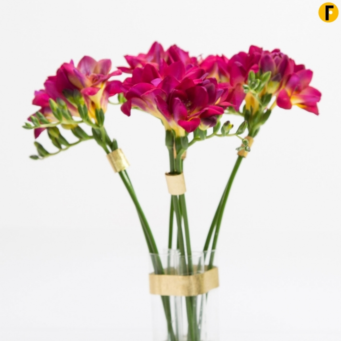 freestylefreesia hot pink freesia and gold vase design flower factor
