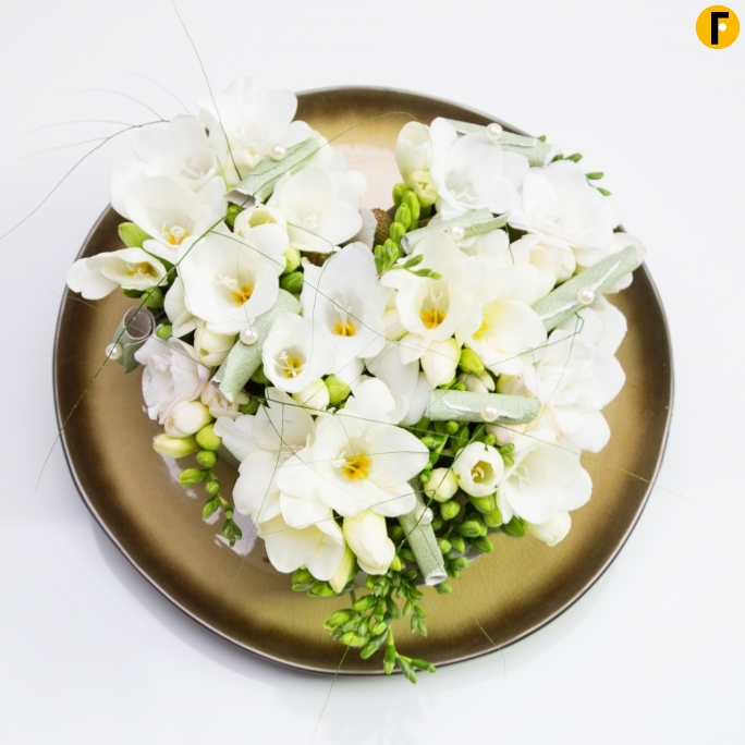 white Freesia on golden platter FreestyleFreesia