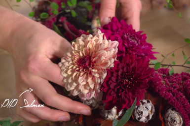 Autumn table decoration with PIP Chrysanthemums